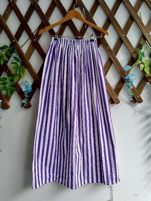 Purple & White Stripe Maxi Skirt