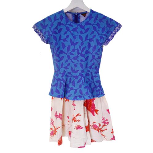 Batik Kid Dress - Blue