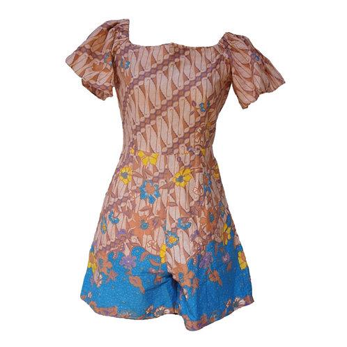 Batik Short Jumpsuit - Blue