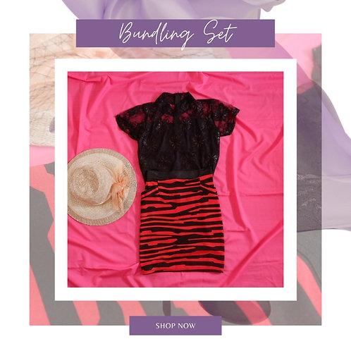 Set Black Lace Blouse x Magnolia Red Stripe Skirt