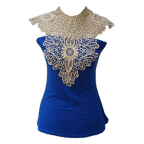 Blue Bordir Shirt
