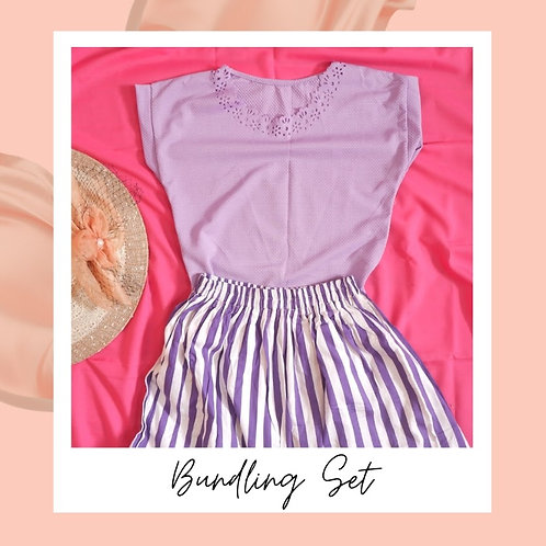 Set Purple Laser Cut Top x Purple Stripe Maxi Skirt
