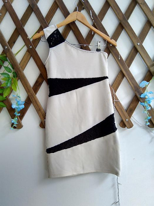 One Shoulder Dress White and Black