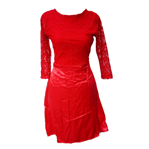 Red Laced Satin Back-less Dress