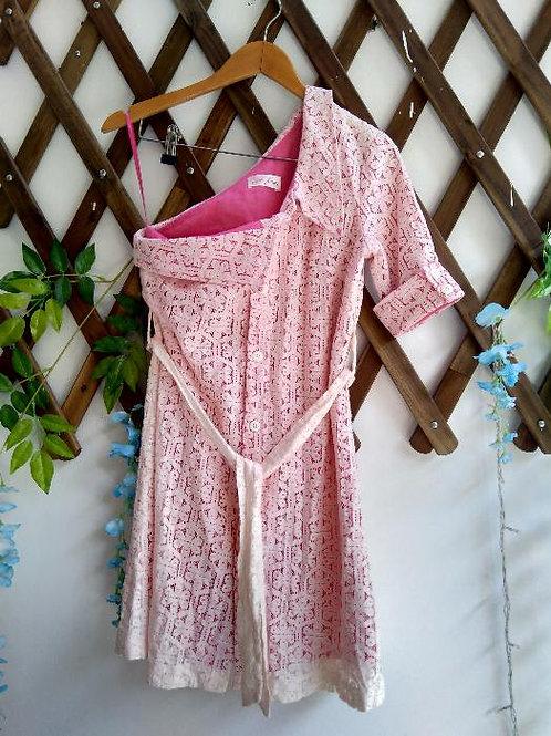 One Shoulder Laced Pink Dress