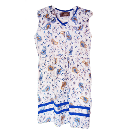 Batik Kid Dress - White & Blue