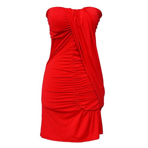 Shoulder-less Red Dress
