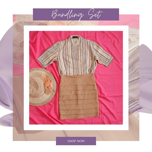 et Brown Stripe Shirt Original the Executive x Brown Skirt