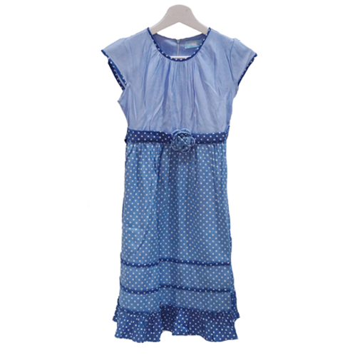 Baloon Denim Dress - Blue