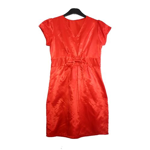 Red Plain Dress with Pita