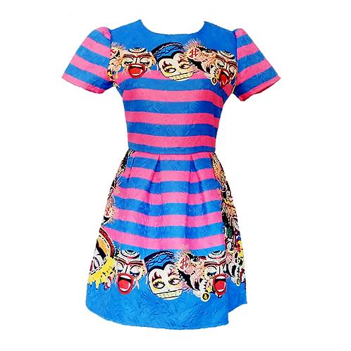 Blue & Pink Mini Dress
