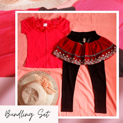 Set MILK Red Flower Shirt x Black Skirt Pant