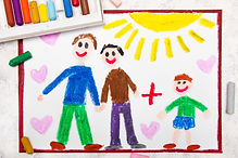 Colorful drawing_ Happy gay parents and