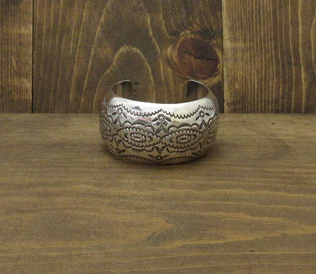 Southwest Sterling Silver Domed Stamped Cuff Bracelet