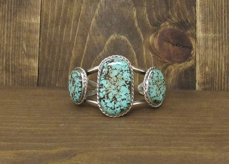 Southwest Sterling Silver and Three Large Turquoise Stones Cuff Bracelet