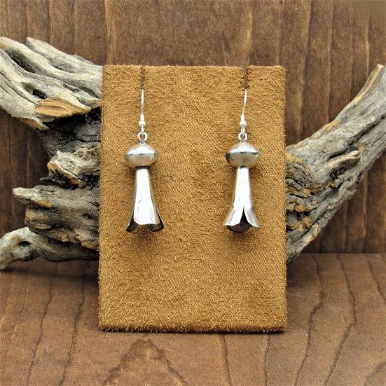 Vintage Southwest Sterling Silver Squash Blossom Dangle Earrings