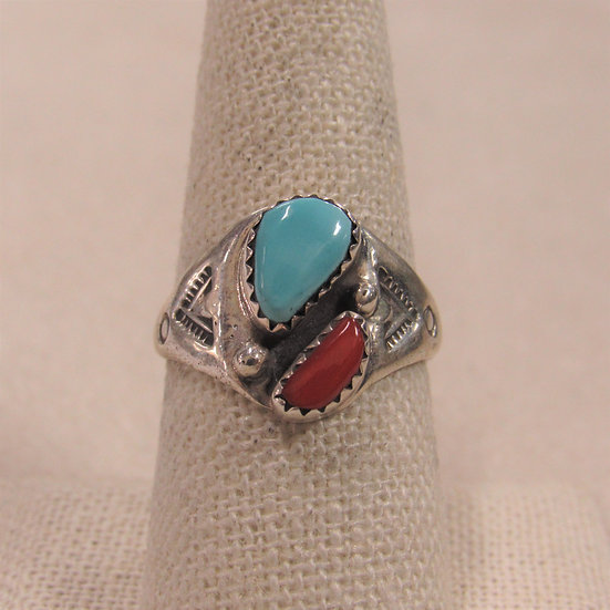 Southwest Sterling Silver, Coral and Turquoise Ring Size 8.75