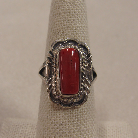 Great Southwest Sterling Silver and Coral Ring By V Chee