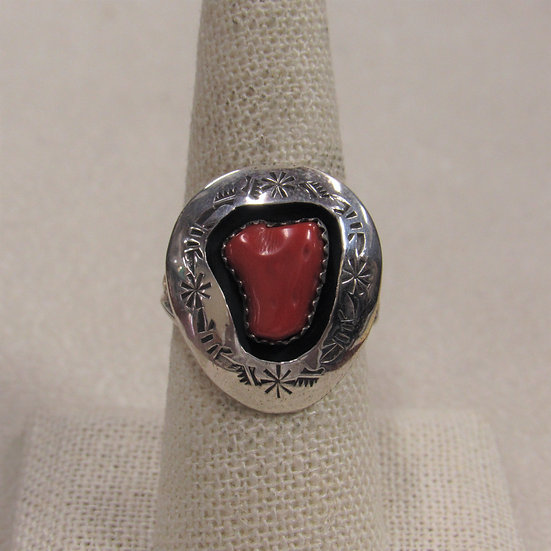Sterling Silver and Coral Navajo Shadow Box Ladies Ring by Navajo Teddy Goodluck