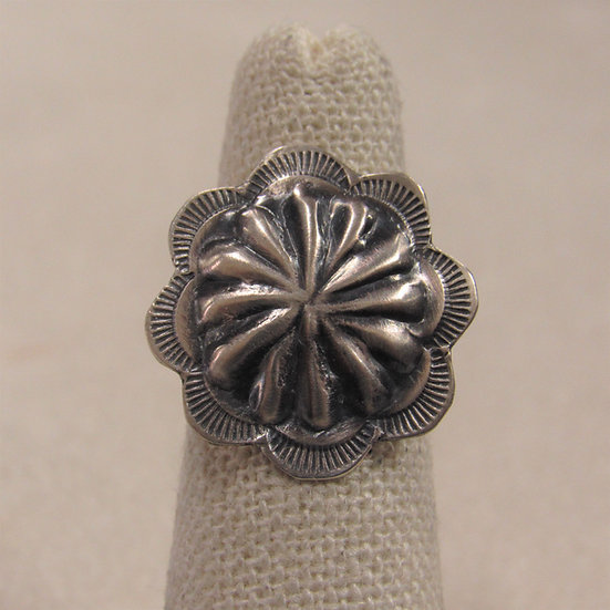 Brushed Sterling Silver Repousse Concho Ladies Ring Size 5.5