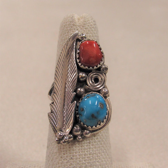 Southwest Sterling Silver, Coral and Turquoise Ladies Ring Size 6