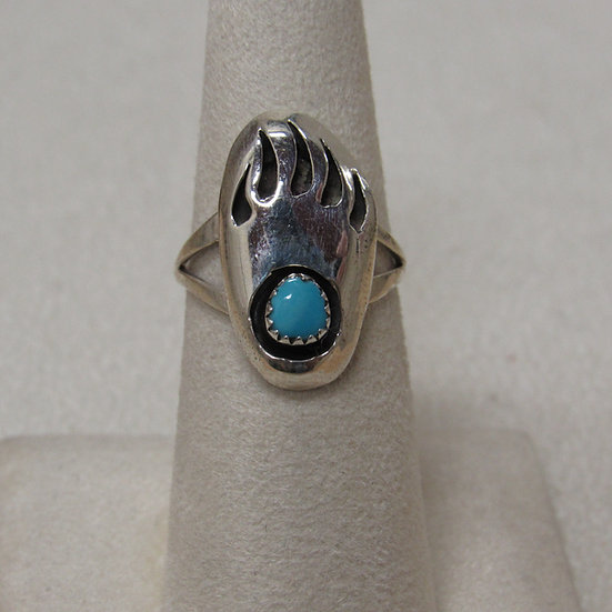 Southwest Sterling Silver and Turquoise Bear Paw Shadow Box Ring