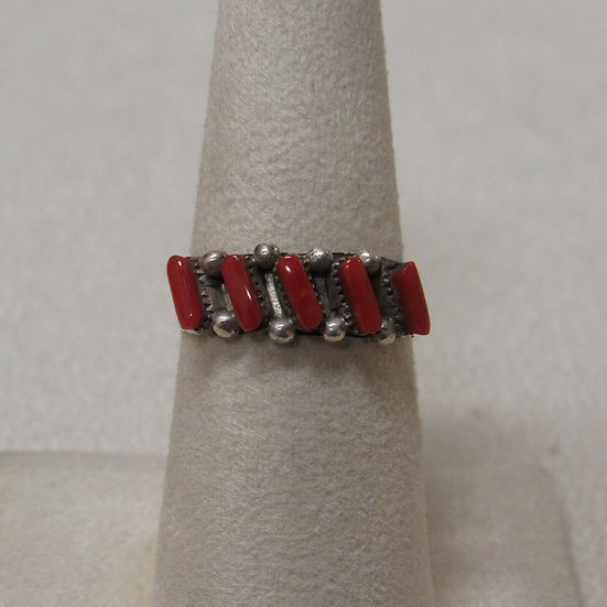 Southwest Sterling Silver and Coral Band Ring  Size 7 1/2