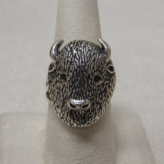 Southwest Sterling Silver Buffalo Head Ring Size 8 3/4