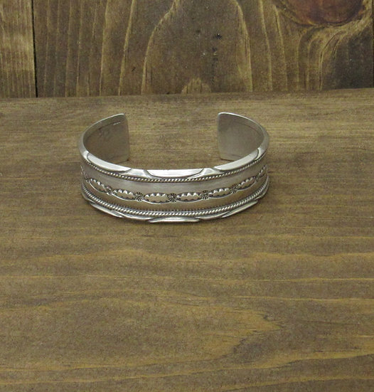 Southwest Sterling Silver Cuff Bracelet with Stamp Work