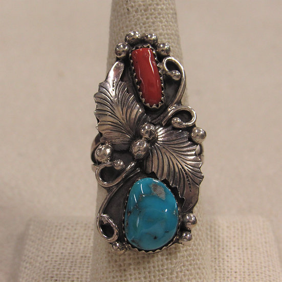 Southwest Sterling Silver, Coral and Turquoise Lades Ring