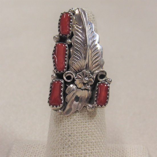 Sterling Silver and Coral Southwest Ladies Ring