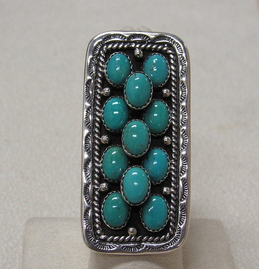 Navajo Emer Thompson Silver and Turquoise Statement Ring Size 6 1/2
