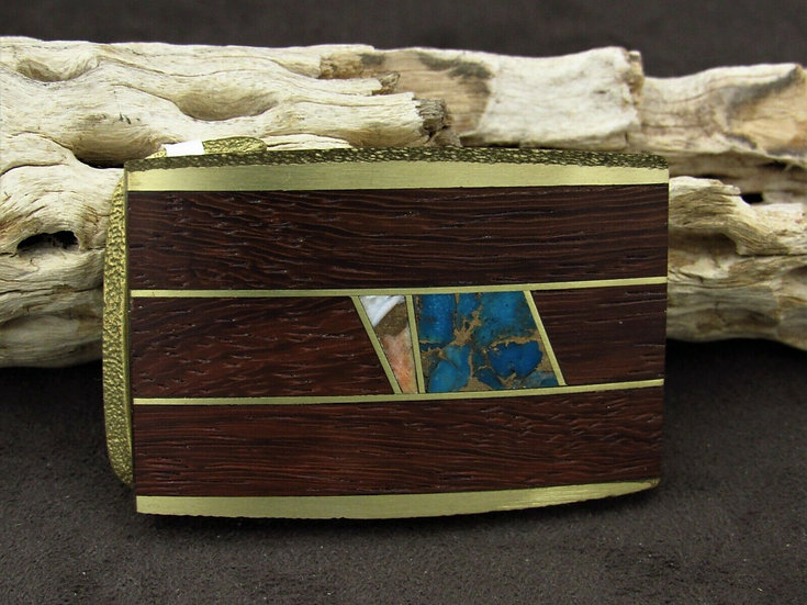 Southwestern Brass Faux Turquoise Wooden Belt Buckle