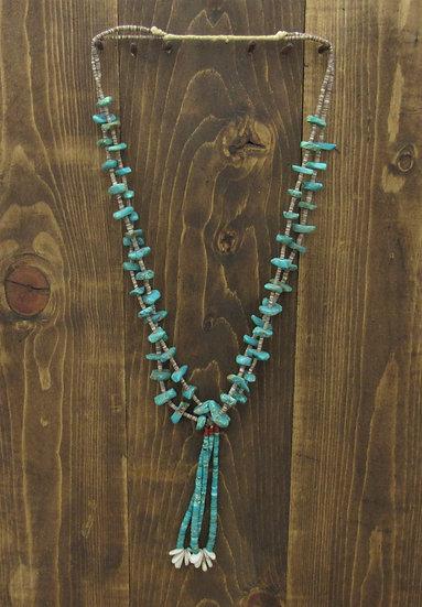 Vintage Southwest Turquoise Nuggets on Heshi Jacla Necklace