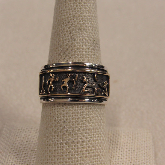 Delvin J Nelson Navajo Sterling Silver and 14 K Gold Overlay Band