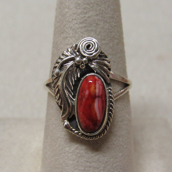 Southwest Sterling Silver and Spiny Oyster Ring Size 7 3/4
