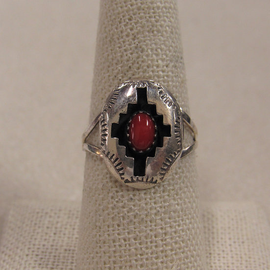 Sterling Silver and Coral Southwest Shadow Box Ring