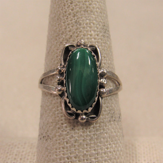 Southwest Sterling Silver and Malachite Ladies Ring