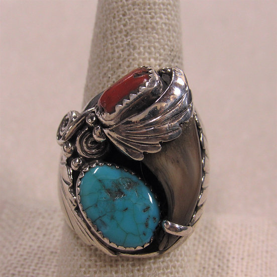 Men's Southwest Sterling Silver, Coral and Turquoise Men's Ring