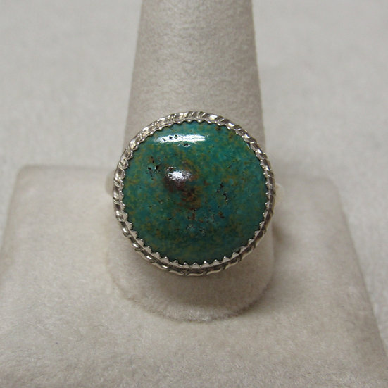 Sterling Silver and Turquoise Ring by Navajo Ben Taylor Riggs Size 12 3/4