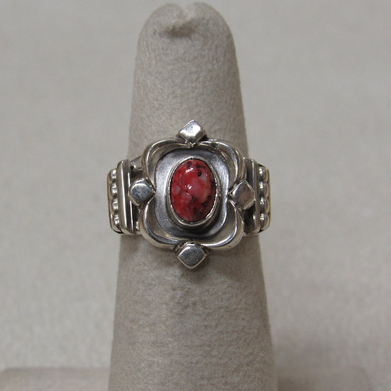 Sterling Silver and Spiny Oyster Shell Ring Size 5 3/4
