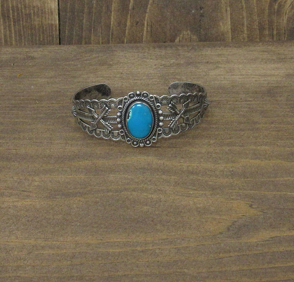 Southwest Sterling Silver and Turquoise Fred Harvey Era Cuff Bracelet