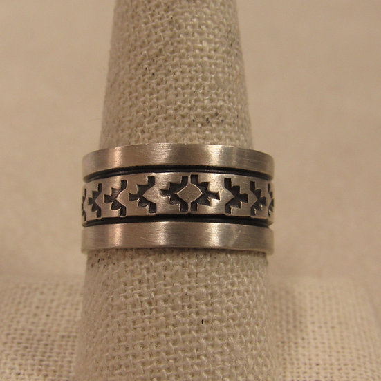 Southwest Sterling Silver Wide Band Ring By Rick Enriquez
