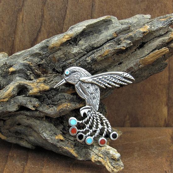 Vintage Sterling Silver Hummingbird Pin