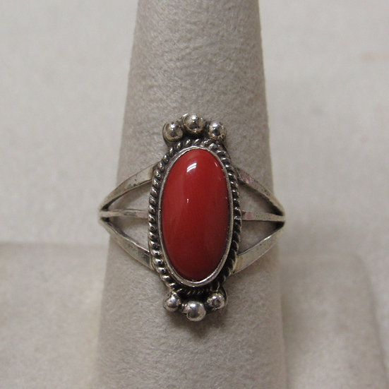 Sterling Silver and Coral Southwest Ladies Ring Size 9 1/4