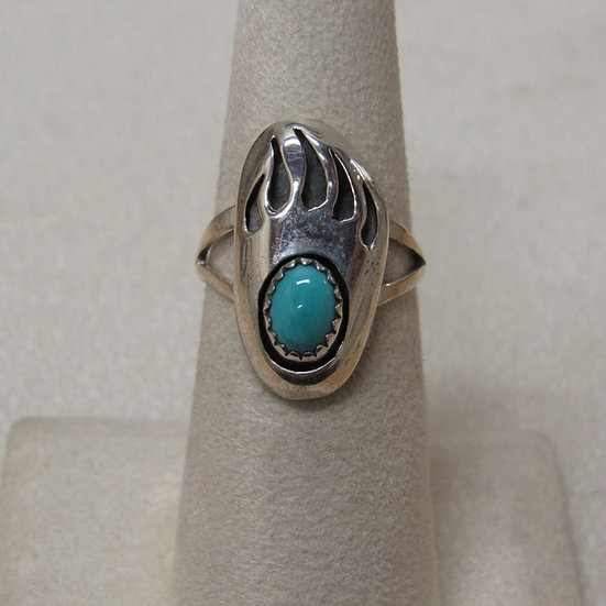 Southwest Shadow Box Bear Paw Ring in Sterling Silver and Turquoise