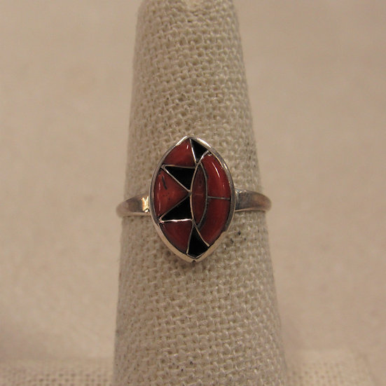 Pretty Sterling Silver and Inlaid Coral Ladies Ring