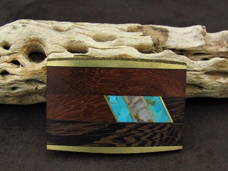Brass Faux Turquoise Wood Belt Buckle
