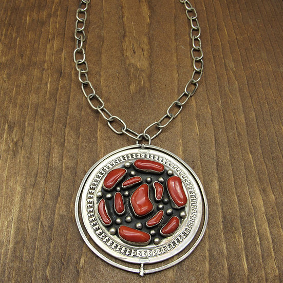 Vintage Large Southwest Spinner Pendant with Hand Made Chain