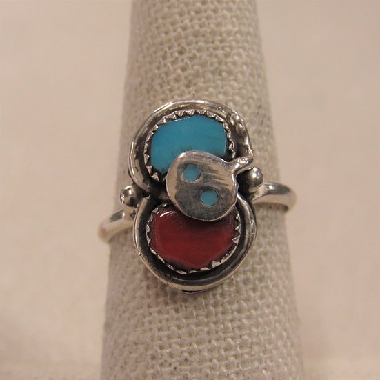 Sterling Silver, Coral and Turquoise Effie C Ladies Ring